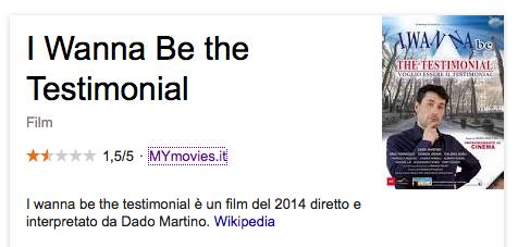 I WANNA BE A TESTIMONIAL DADO MARTINO
